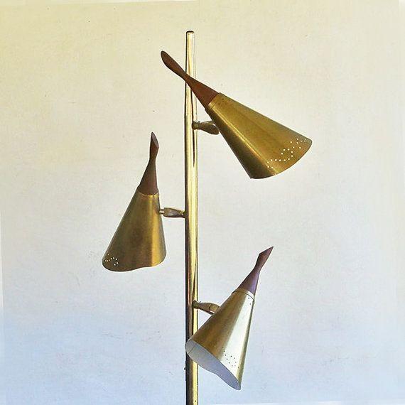 mid century modern 3 cone floor lamp pole lamp by