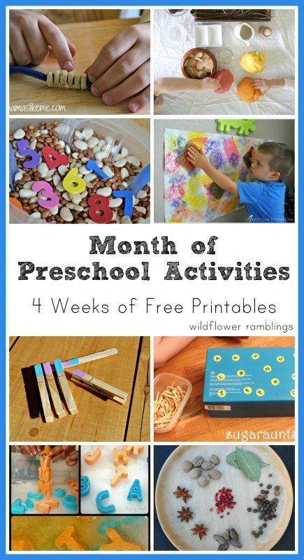 preschool activities - four weeks of free printables from wildflower ramblings