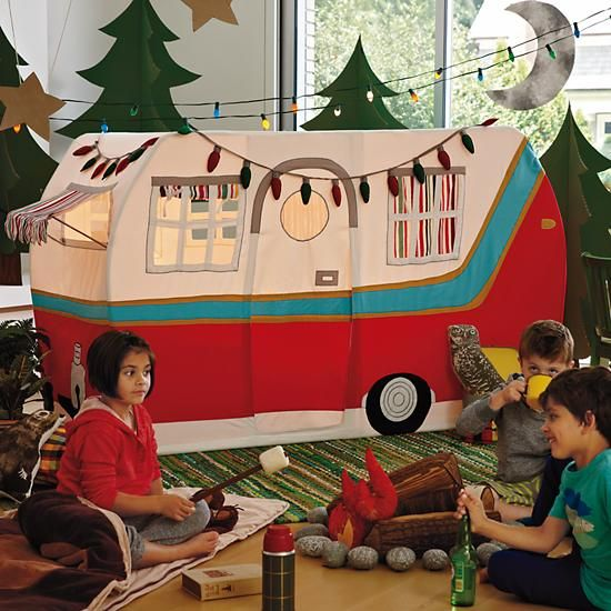 "Looking to cut down on ""Are we there yets?"" for your next camping trip? Then you're in luck. Jetaire Camper Play Tent brings the campsite into your home."