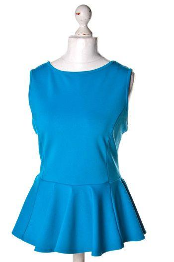 Niebieska bluzka z #baskinką #Papaya #woman  #blouse #wzorcownia