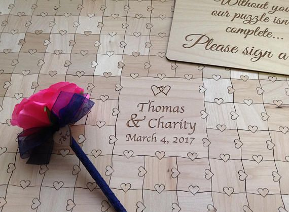 80 pieces Custom Puzzle Wedding Guest Book with Heart Tabs