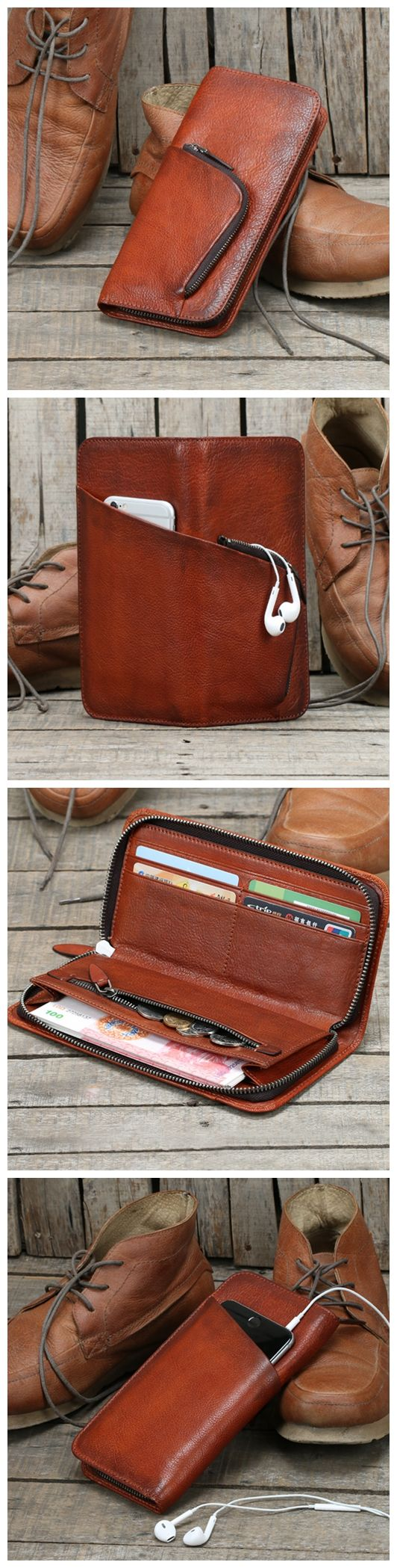 Handmade Long Leather Wallet Card Holder Vintage Brown Leather iPhone Wallet MT02 - Brown