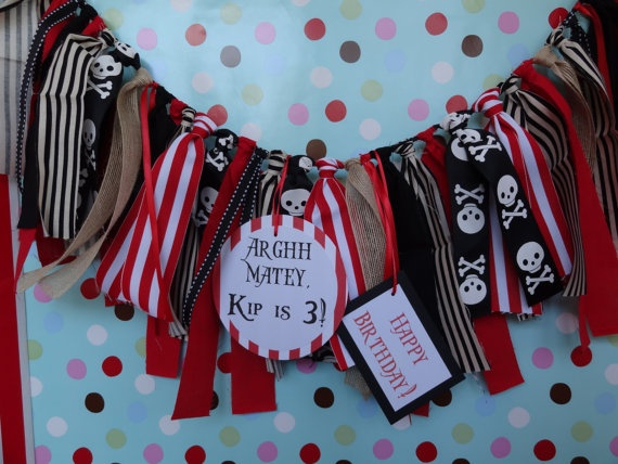 Pirate Theme Birthday/ highchair banner/ photo by apetitesoiree, $21.00