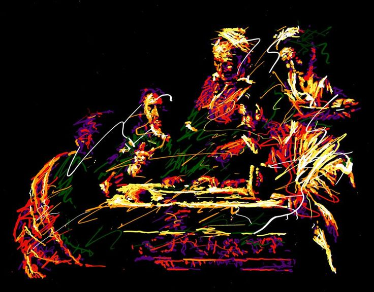 """Contemporary art for the wall Titolo : """"CARAVAGGIO LA CENA IN EMMAUS"""" 2013 serigrafia su tela disponibile in diverse dimensioni contatti per l'acquisto: ax.montanaro@libero.it. tel.0835 312459"""