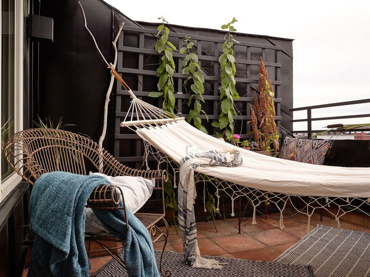 Elegant Hanging Hammock On Apartment Balcony