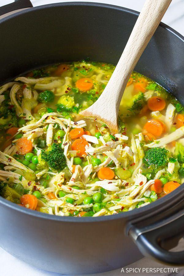 Healthy Chicken Detox Soup Recipe & Cleanse | ASpicyPerspective.com (Paleo, Gluten Free, Dairy Free)