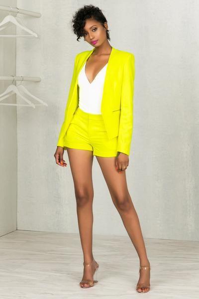 Neon Yellow Suit Blazer
