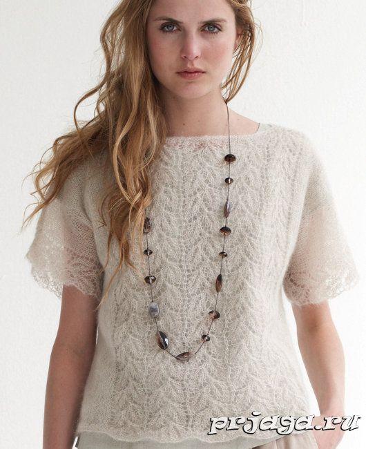 Ажурный пуловер спицами из мохера