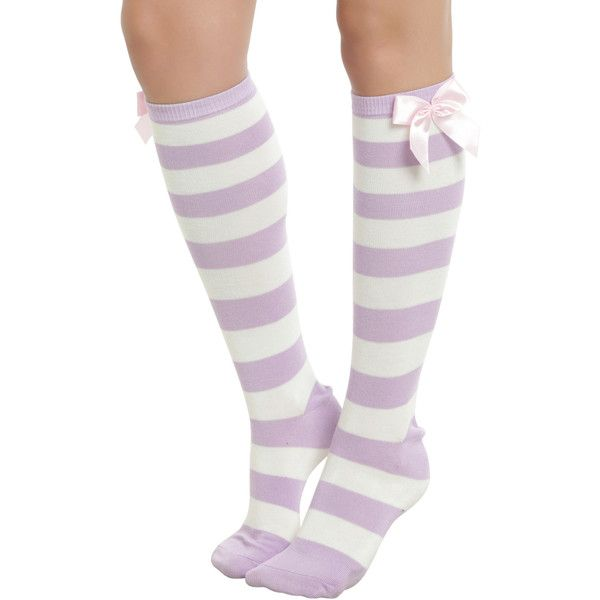 Hot Topic Blackheart Lavender & Cream Stripe Knee Socks ($6.67) ❤ liked on Polyvore featuring intimates, hosiery, socks, multi, cream socks, knee high socks, stripe socks, knee hi socks and striped knee socks