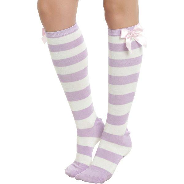 Hot Topic Blackheart Lavender & Cream Stripe Knee Socks ($6.67) ❤ liked on Polyvore featuring intimates, hosiery, socks, multi, cream socks, knee high socks, stripe socks, knee hi socks and striped knee socks