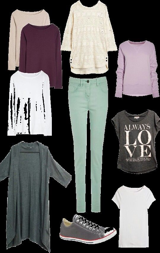 Мятные джинсы и кеды + топы