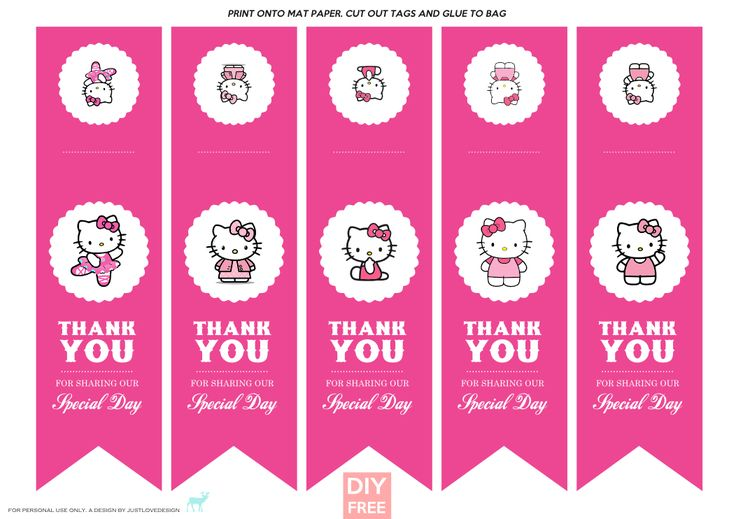 DIY FREE Hello Kitty Gift Bag Tags - JustLoveDesign