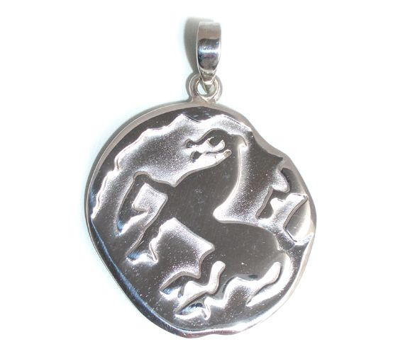 Celtic Coin Tetradrachme pendant modelled on a coin from 120 BC. Available in sterling silver or gold as a pendant or as a keyring in silver, brass or bronze. Designed and crafted by Karen Ryder.
