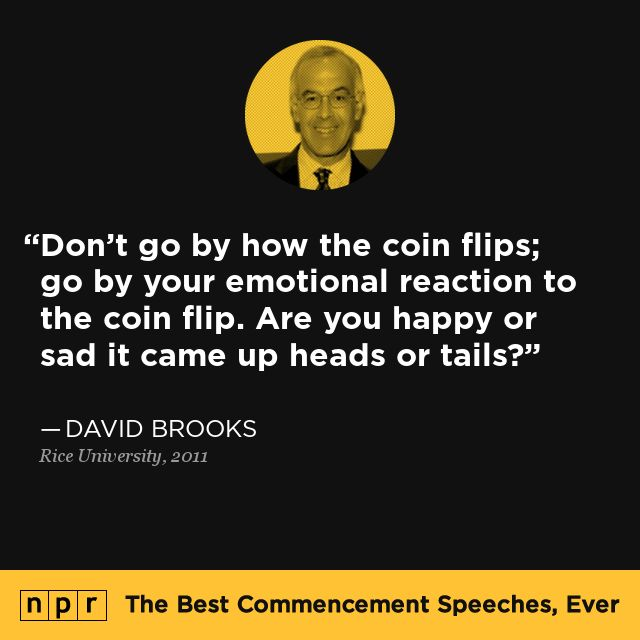David Brooks, 2011. From NPR's The Best Commencement Speeches, Ever.