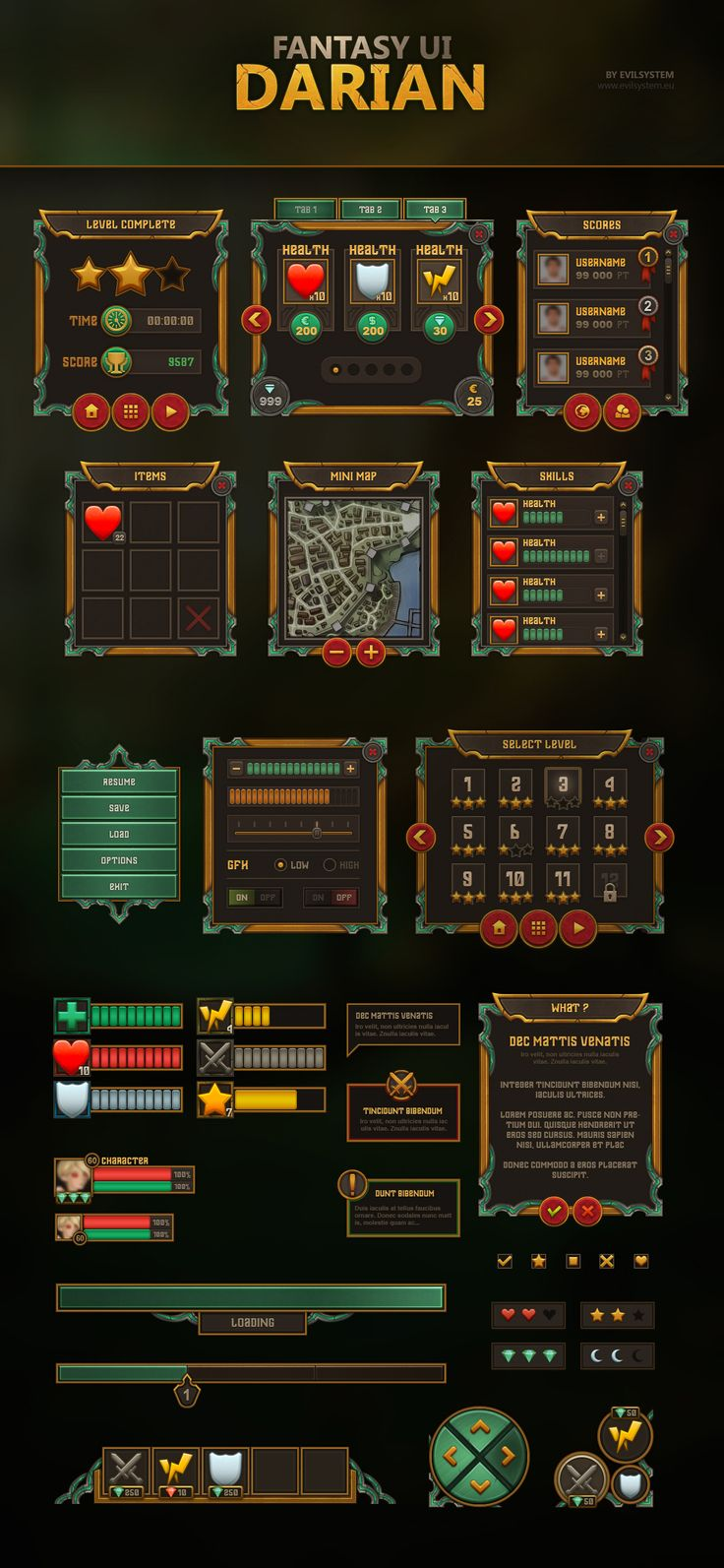Fantasy UI - Darian by Evil-S on DeviantArt