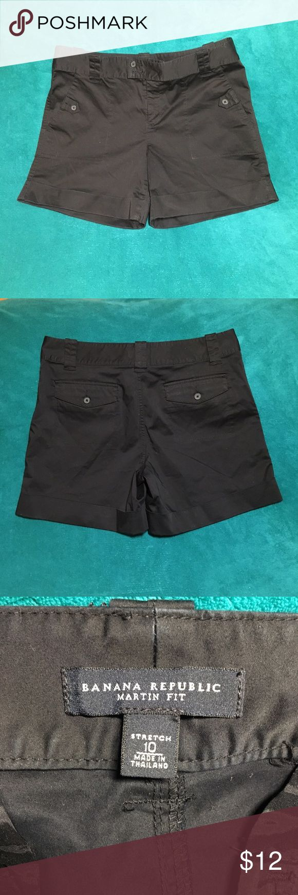 """Banana Republic Shorts Martin Fit Size 10 BLACK Banana Republic 10 Black Shorts Martin Fit Cotton Stretch Twill Roll Cuffs.  Great Condition Lightly used.  Inseam 6"""".  Stretch. B-1 Banana Republic Shorts"""
