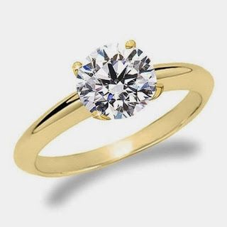 Yellow Gold Solitaire Diamond Engagement Ring Round Brilliant Cut