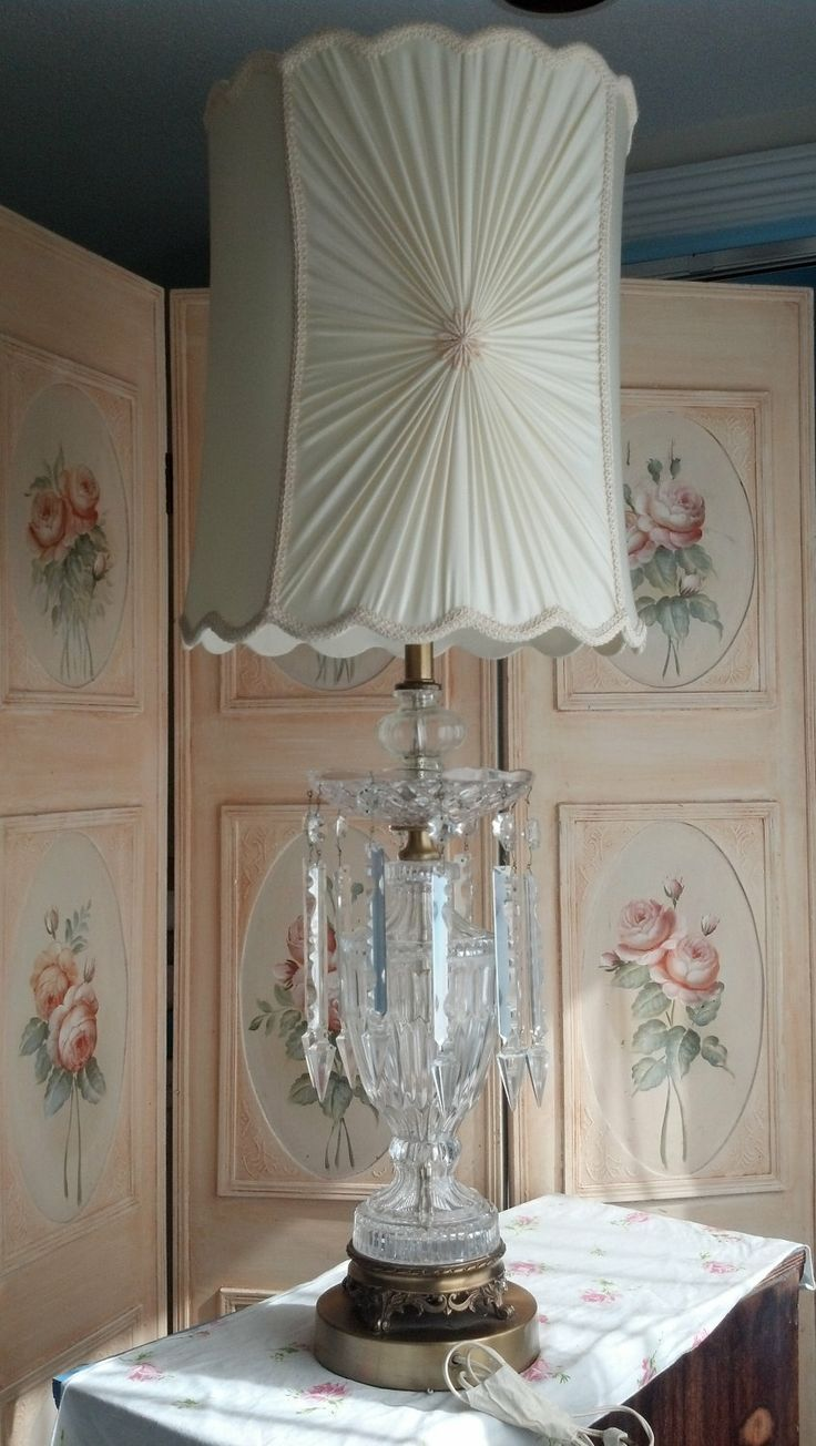 1 Vintage Crystal Lamp Shabby Chic Spear By