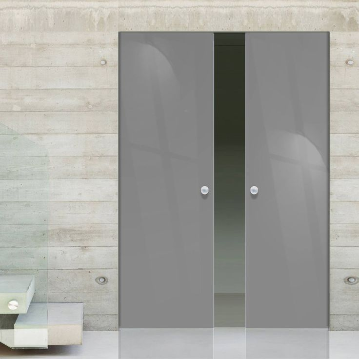 eclisse 10mm gloss grey colour glass syntesis double pocket door