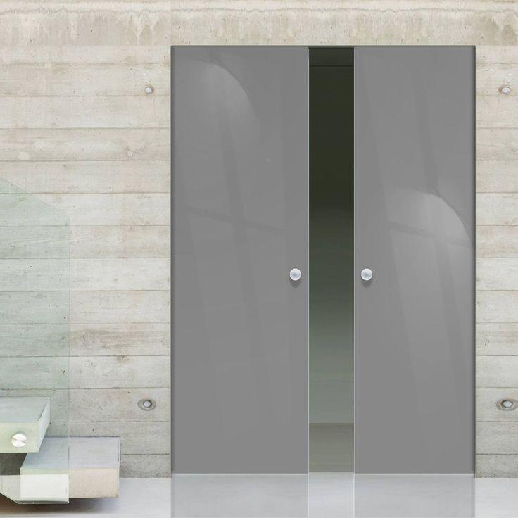 Eclisse 10mm Gloss Grey Colour Glass Syntesis Double Pocket Door - 7024.    #greydoors  #internalglassdoors  #framelessglassdoors