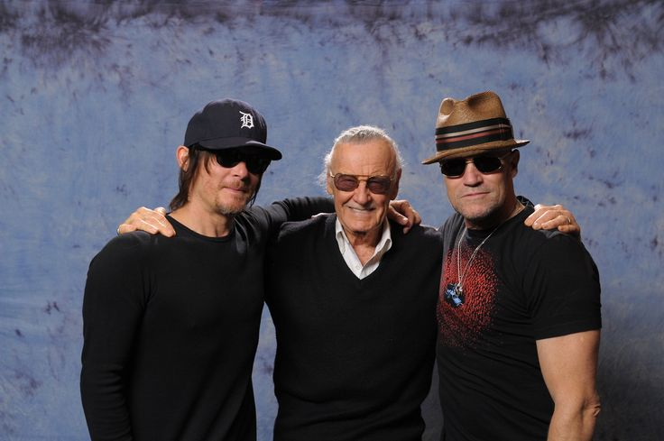 Norman Reedus and Michael Rooker with Marvel legend Stan Lee at #Fandomfest2013 in Louisville, Kentucky.