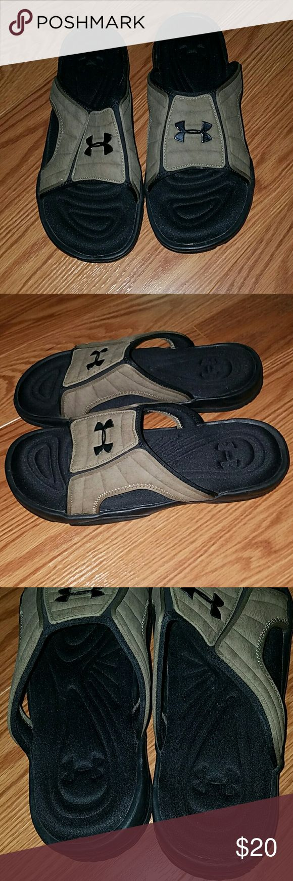 Under Armour Mens slides sandals NWOT Sz. 9 Under Armour Mens slides sandals NWOT Sz. 9. These were never worn and they have the foam cushion. Under Armour Shoes Sandals & Flip-Flops