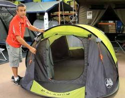 http://www.amazonoutdoors.com.au/blog/n/malamoo-x-tra-review-3-second-tent-140304  It's Daniel from Amazon Outdoors just introducing the Malamoo X -Tra. This tent sleeps 3 people and is 3m long by 2m wide by 1.25m high. It packs up to a metre and erects in three seconds. Don't blink!   Click here for more info and pricing on the Malamoo X-Tra 3 Second Tent http://www.amazonoutdoors.com.au/shop/p/malamoo-3-second-tent-xtra-green