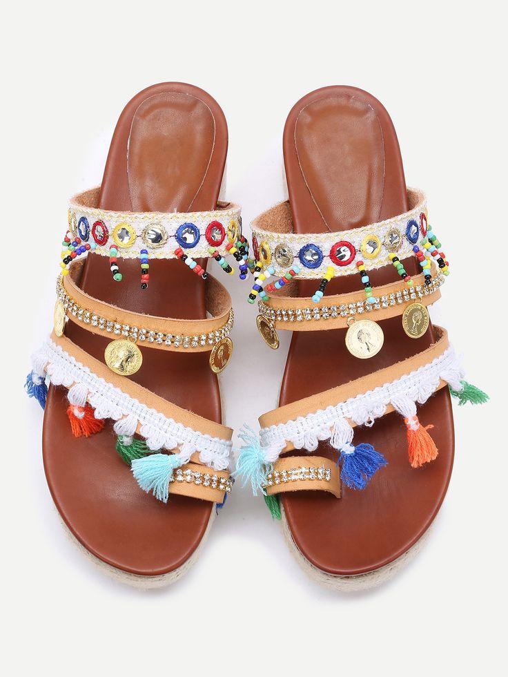 Shop Apricot Open Toe Coin Fringe Trim Flatform Sandals online. SheIn offers Apricot Open Toe Coin Fringe Trim Flatform Sandals & more to fit your fashionable needs.