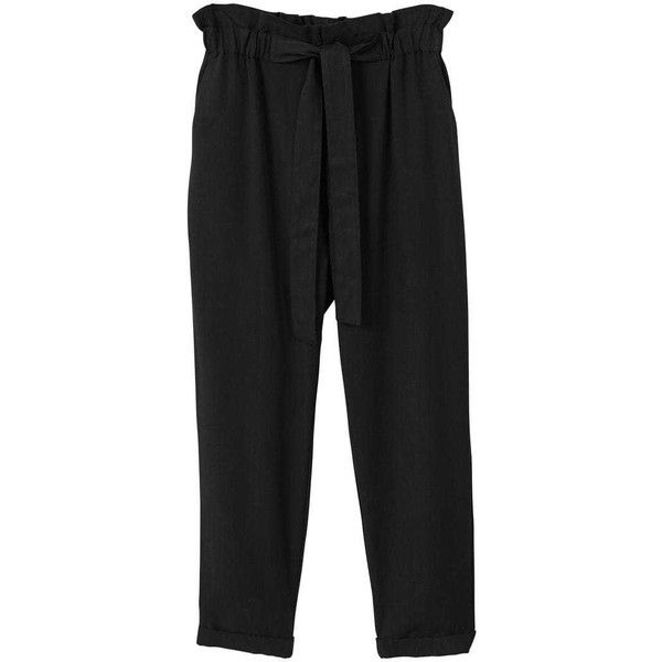 MANGO Soft cord trousers ($60) ❤ liked on Polyvore featuring pants, black, zip pants, bow pants, side pocket pants, mango pants and zipper trousers
