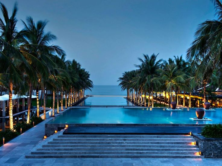 The gorgeous pool at The Nam Hai, in Vietnam, leads directly to the sands of the nearby beach.