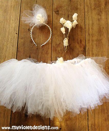 Disfraz de novia sexy despedida de soltera. pollera de tul, vincha con tocado y mini ramito de flores de tela. myvioletdesigns.com