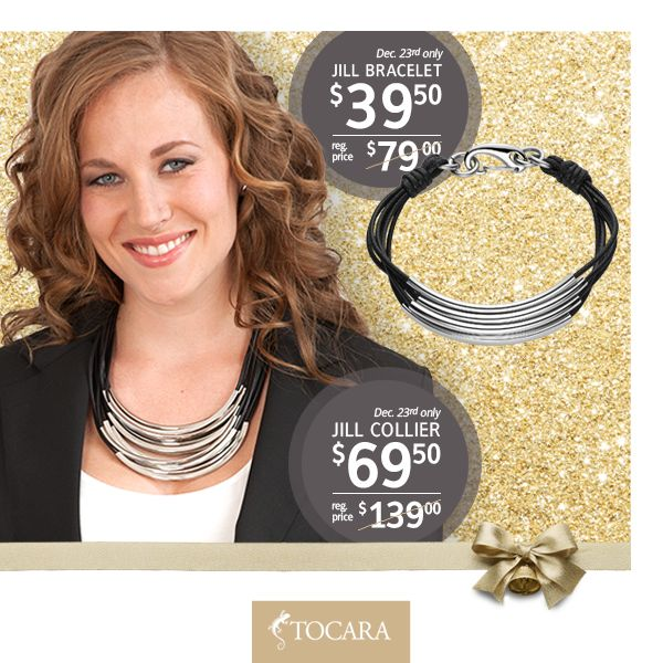 "On the Third Day of Christmas, Tocara gave to me...  December 23rd - Jill Necklace or Bracelet at HALF PRICE.  Jill Necklace for only $69.50 (reg. price $139) | Stainless Steel - Wax cord - 20""+2"" To purchase ask your consultant or click the image."