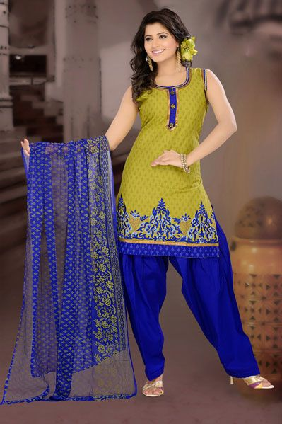 Green Cotton Patiala Salwar Kameez