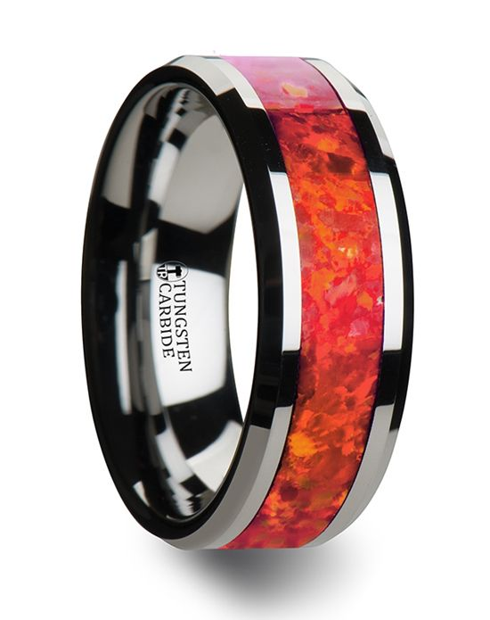 Red opal inlay tungsten wedding ring | Thorsten w1966 | http://trib.al/0mIZhip