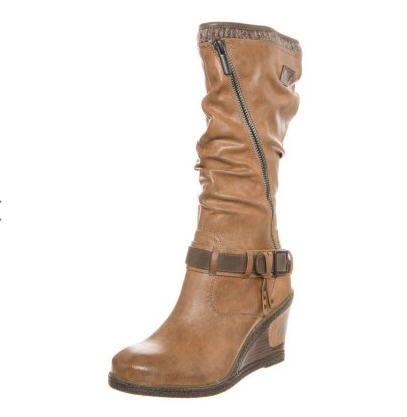 Bottines femme Zalando, promo chaussures Mustang, achat Mustang Bottines compensées marron prix promo Zalando 80.00 €
