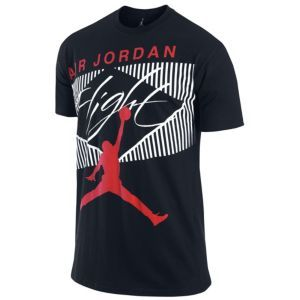 Jordan Classic Flight T-Shirt - Men's - Basketball - Clothing - Black/Challenge Red