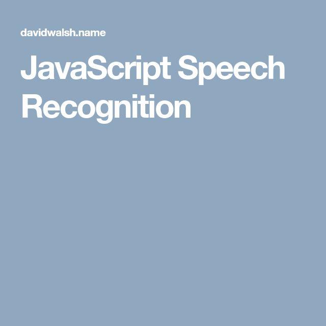 JavaScript Speech Recognition