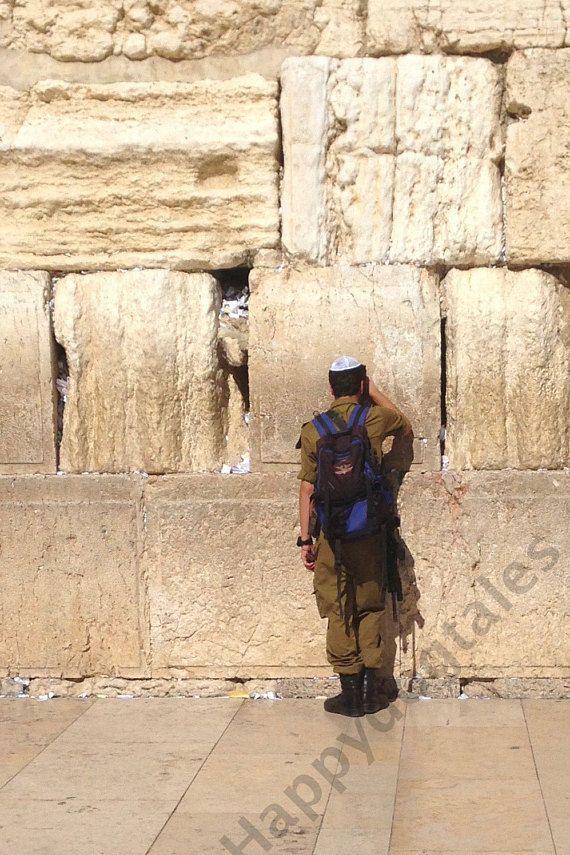 Soldier Prays  Old City Jerusalem Israel Western Wall