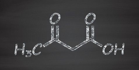 Ketone body (acetoacetic acid, diacetic acid) molecule.