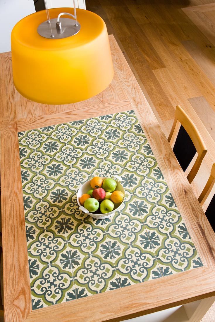 great table with tiles