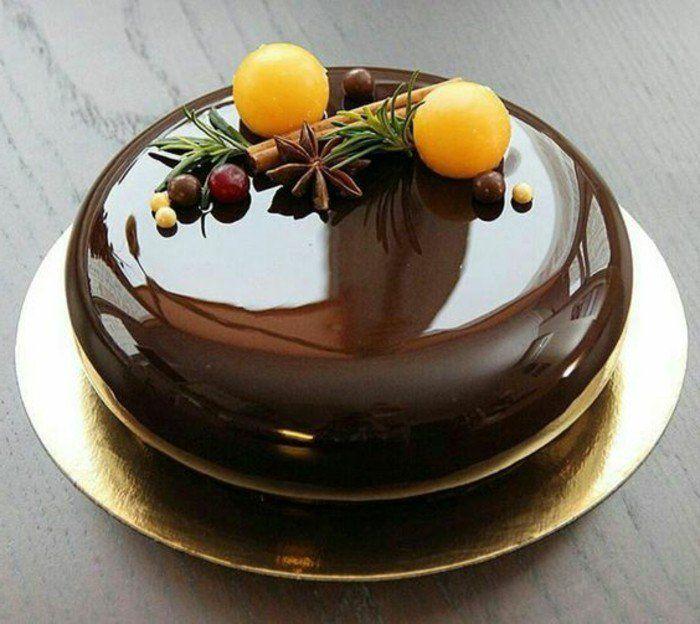 gacage miroir chocolat, gateau de noel