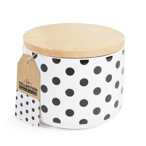 Pot à pois en porcelaine H 10 cm BLACK & WHITE
