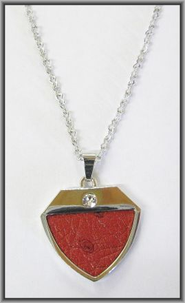 Ostrich leather crystal small pendants - Flame Red OPSB11