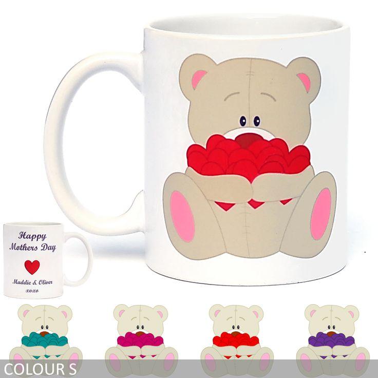 Personalised Teddy Bear with Hearts Coffee Mug