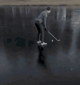 Golfing on Ice Fail. [video]
