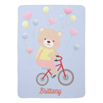Cute Girly Teddy Bear on Bicycle Baby Blanket - baby gifts child new born gift idea diy cyo special unique design