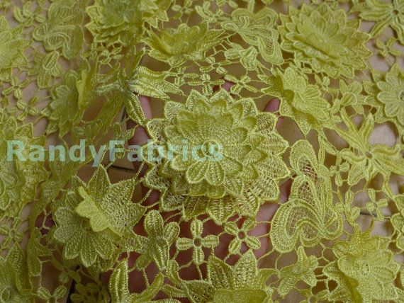 YELLOW Heavy work 3 overlapping flowers embroidery by Randyfabrics