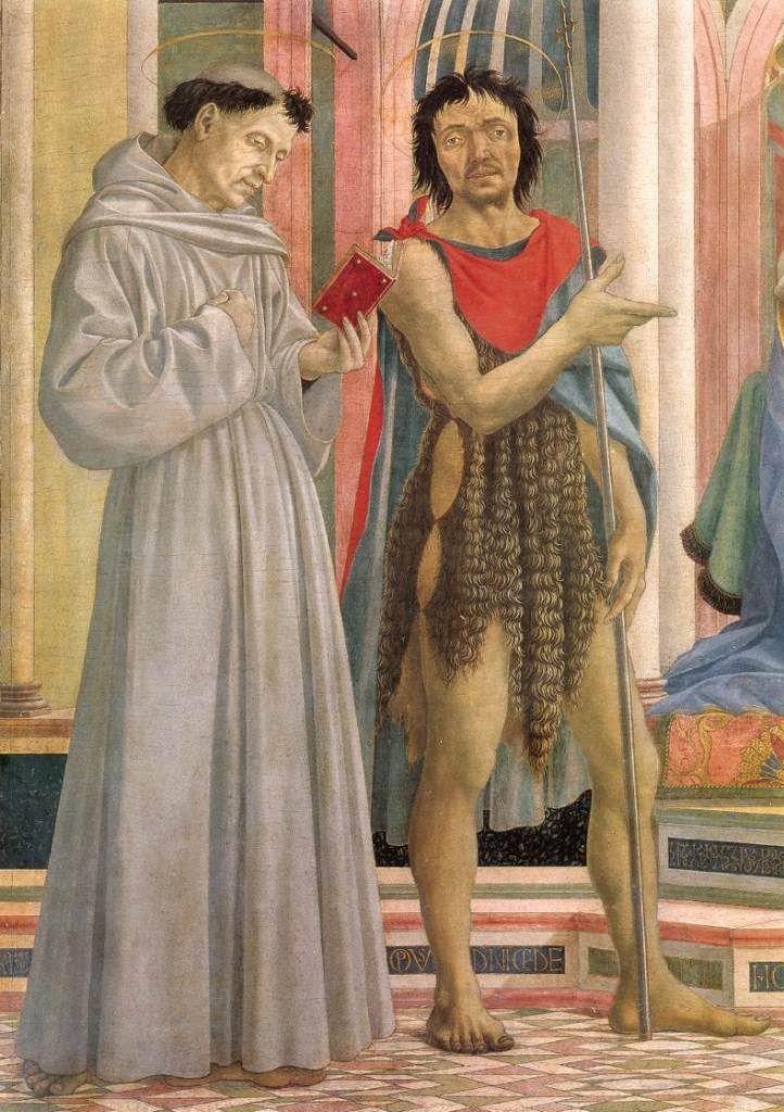 Мадонна с младенцем в окружении святых. Фрагмент. 1445 г Доменико Венециано. Темпера по дереву. Галерея Уффици, Флоренция.