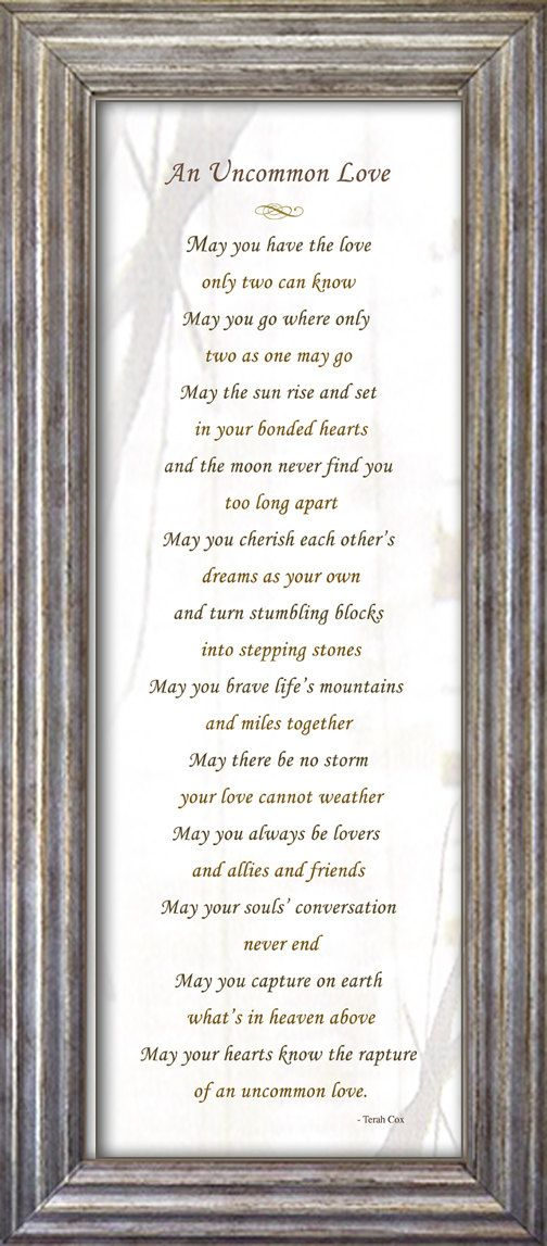 Wedding Poem framed wall art UNCOMMON LOVE by HeavenandEarthWorks