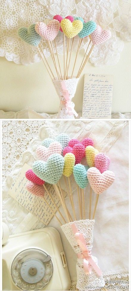 Crochet hearts for Valentine's Day